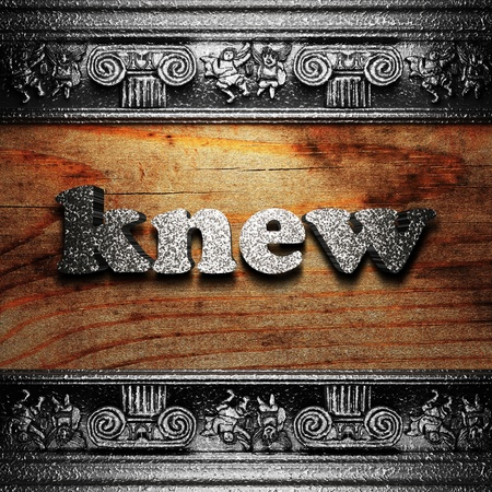 knew: iron word on wood made in 3D Stock Photo