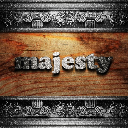 the majesty: iron word on wood made in 3D Stock Photo