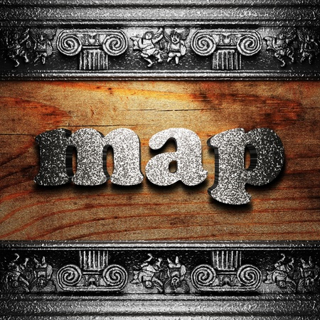 iron word on wood made in 3D photo