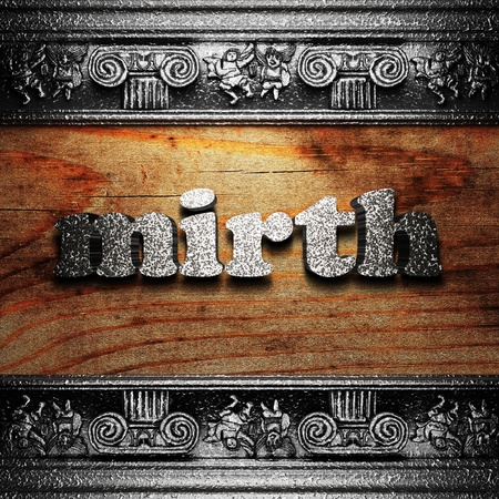 mirth: iron word on wood made in 3D Stock Photo