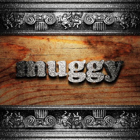 muggy: iron word on wood made in 3D Stock Photo