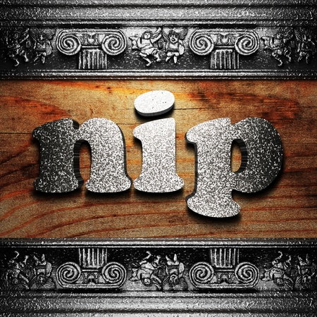 nip: iron word on wood made in 3D Stock Photo