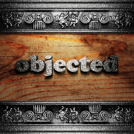 objected: iron word on wood made in 3D Stock Photo