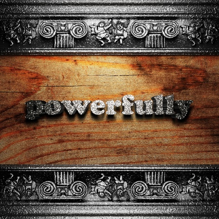 powerfully: iron word on wood made in 3D Stock Photo