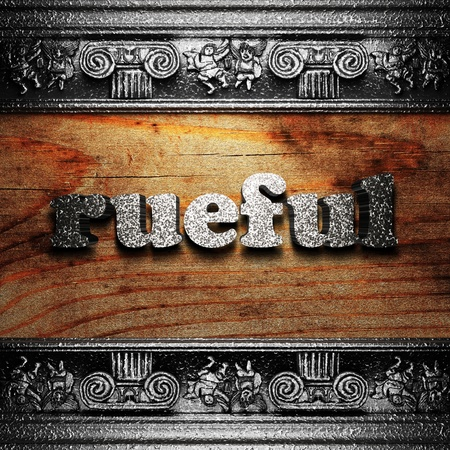 rueful: iron word on wood made in 3D Stock Photo