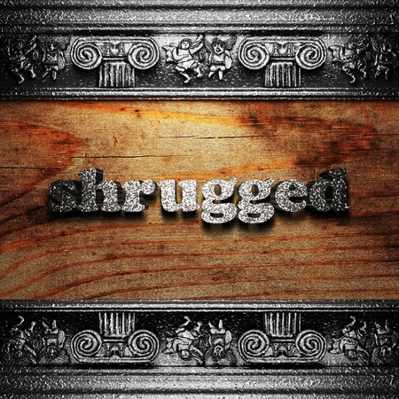 shrugged: iron word on wood made in 3D Stock Photo