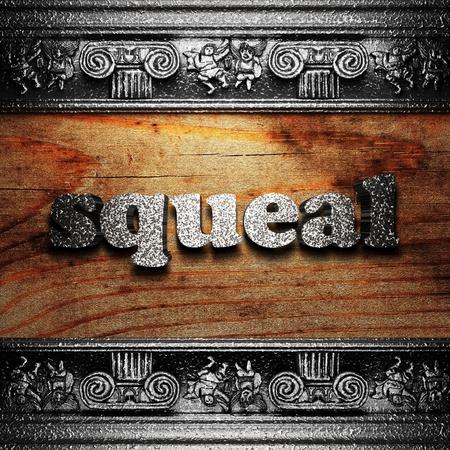 squeal: parola di ferro su legno realizzato in 3D Archivio Fotografico