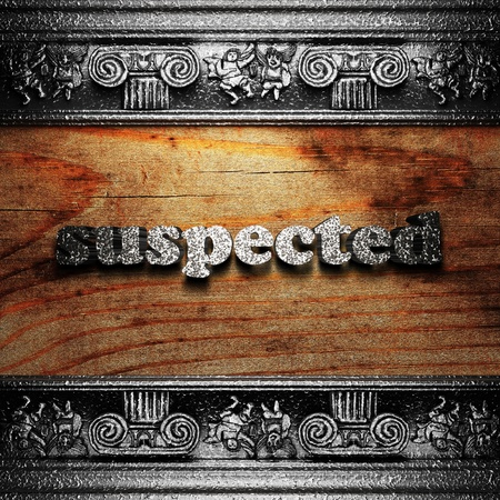 suspected: iron word on wood made in 3D Stock Photo