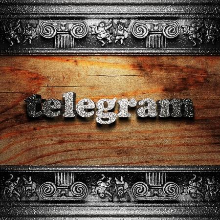 telegrama: de hierro la palabra en la madera realizados en 3D