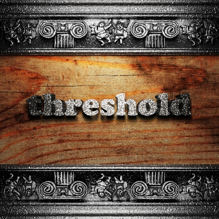 threshold: iron word on wood made in 3D Stock Photo