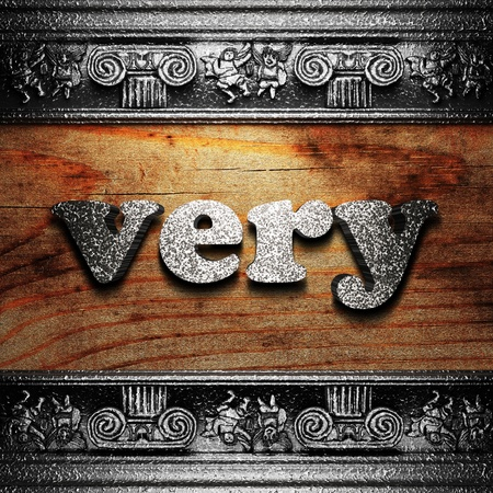 iron word on wood made in 3D Stock Photo