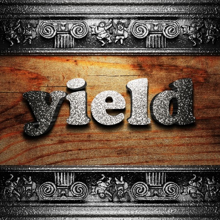 yield sign: iron word on wood made in 3D Stock Photo