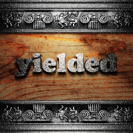 yielded: iron word on wood made in 3D Stock Photo