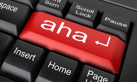 aha: Word on keyboard made in 3D