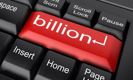 billion: Word on keyboard made in 3D