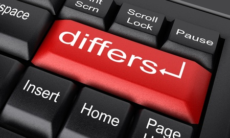 differs: Word on keyboard made in 3D