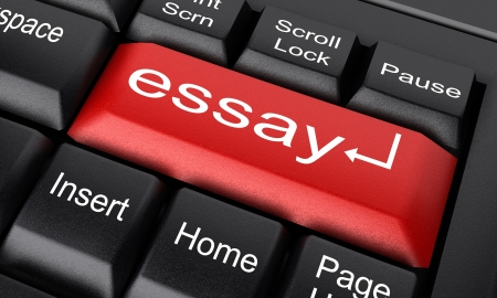 essay: Word on keyboard made in 3D