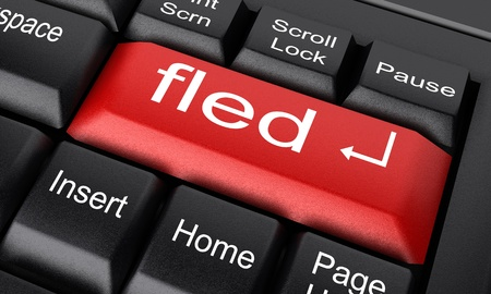 fled: Word on keyboard made in 3D