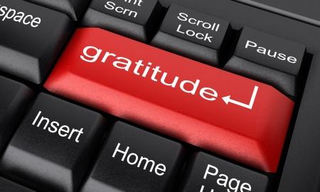 gratitudine: Word sulla tastiera realizzato in 3D Archivio Fotografico