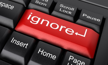 ignore: Word on keyboard made in 3D