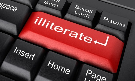 illiterate: Word on keyboard made in 3D