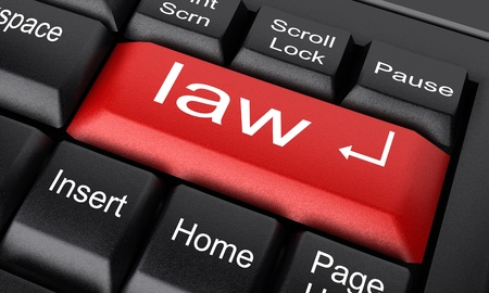 ley: Palabra en el teclado hecho en 3D Foto de archivo