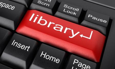 bibliotecas: Palabra en el teclado hecho en 3D Foto de archivo