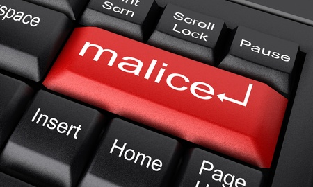 malice: Word on keyboard made in 3D