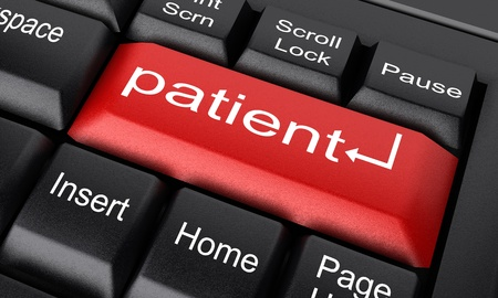 patient data: Word on keyboard made in 3D