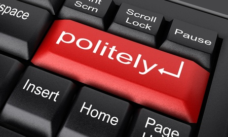 politely: Word on keyboard made in 3D