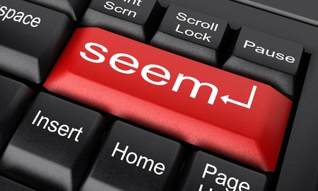 seem: Word on keyboard made in 3D