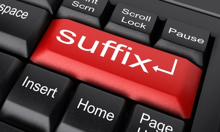 suffix: Word on keyboard made in 3D