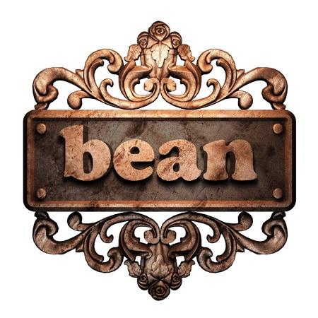 golden bean: Word on bronze ornament