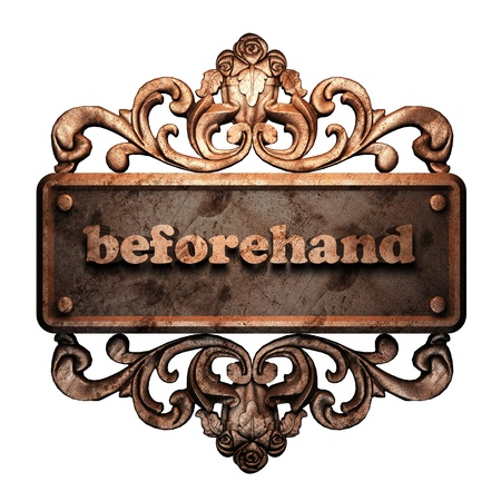 beforehand: Word on bronze ornament