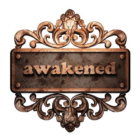 awakened: Word on bronze ornament