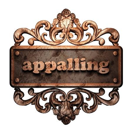 appalling: Word on bronze ornament