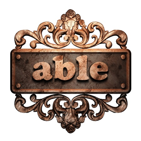 able: Word on bronze ornament