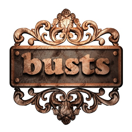 busts: Word on bronze ornament