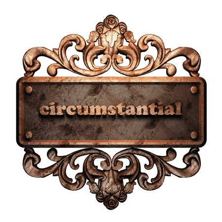 circumstantial: Word on bronze ornament