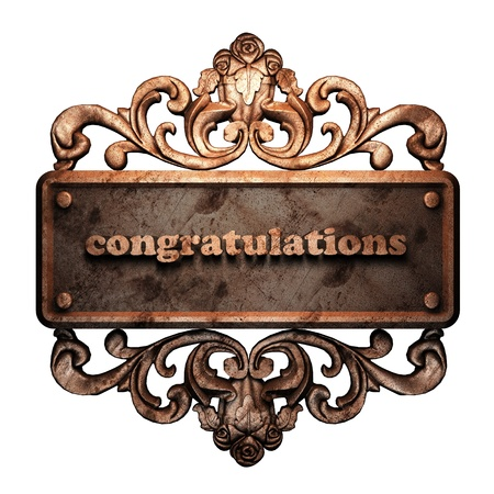 congratulation: Word on bronze ornament