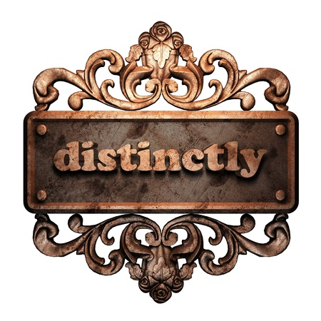 distinctly: Word on bronze ornament