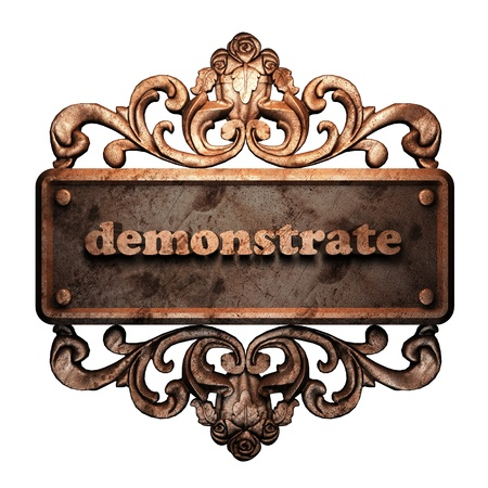 demonstrate: Word on bronze ornament