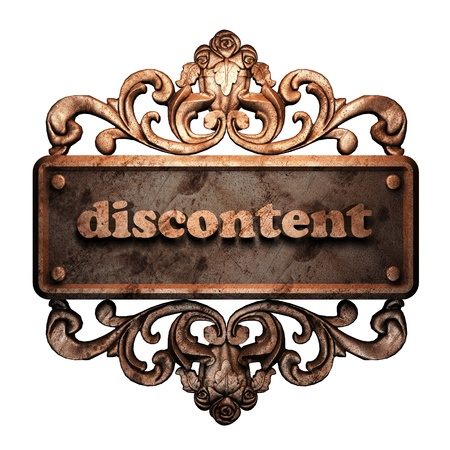discontent: Word on bronze ornament