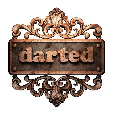 darted: Word on bronze ornament