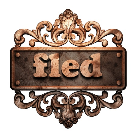 fled: Word on bronze ornament