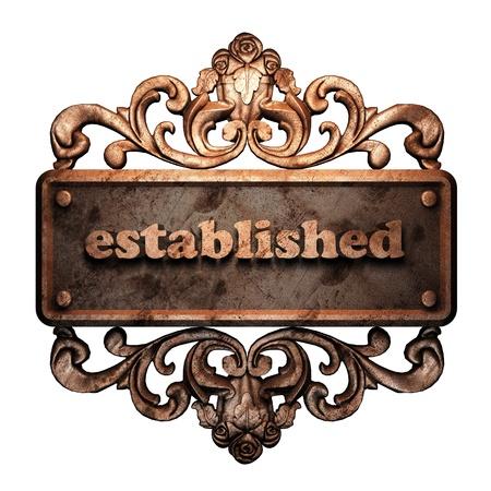 established: Word on bronze ornament