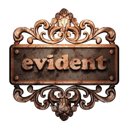 evident: Word on bronze ornament