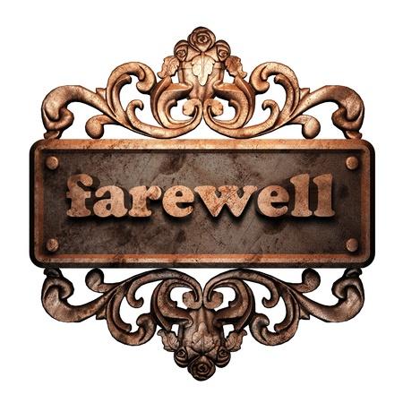 despedida: Palabra en el ornamento de bronce Foto de archivo