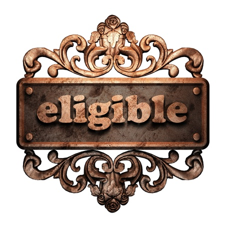 eligible: Word on bronze ornament