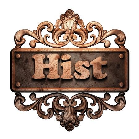 hist: Word on bronze ornament